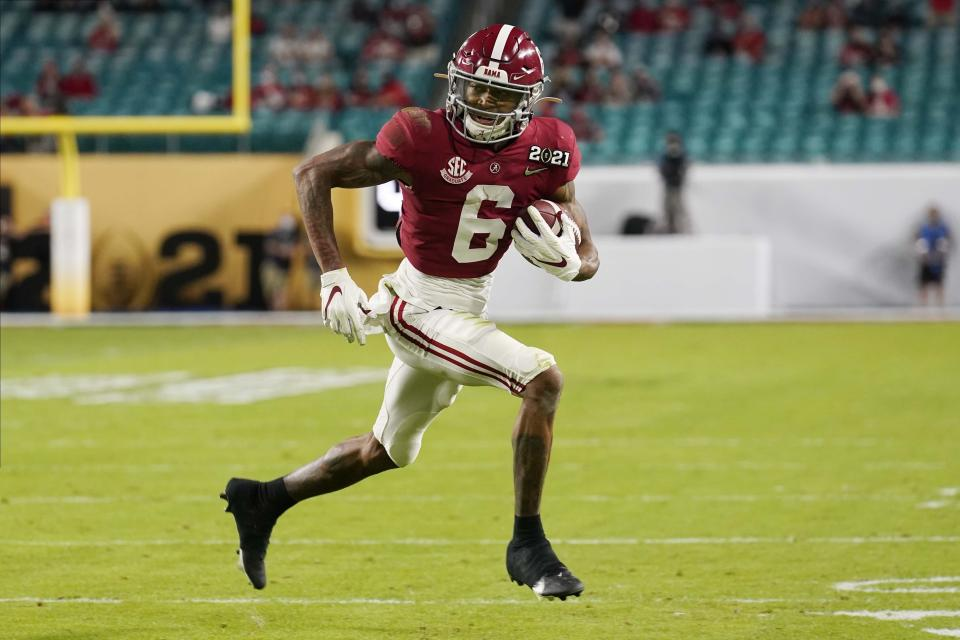 There was no more dominant wide receiver in college football the past two seasons than Alabama's DeVonta Smith. (AP Photo/Chris O'Meara)
