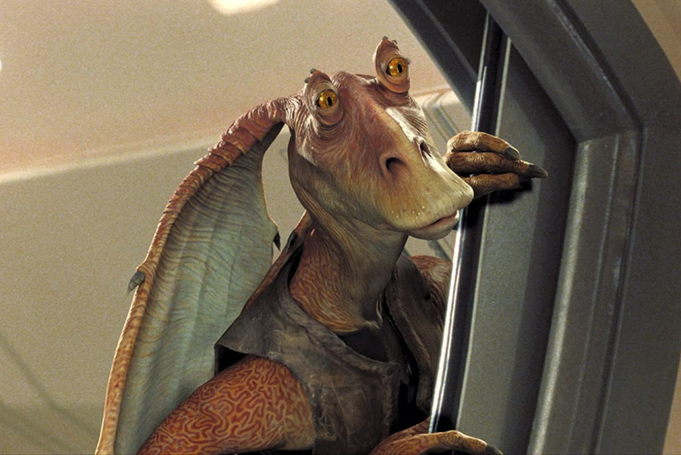 <p>This goofy Gungan first appeared in the prequels and gets a lot of flack for being one of the most annoying and hated characters in the <em>Star Wars</em> realm.</p>