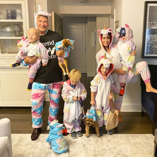Alec and Hilaria Baldwin with kids Carmen, Rafael, Leonardo, and Romeo
