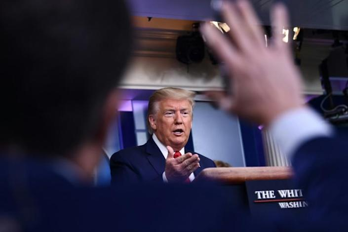 US President Donald Trump speaks during the daily briefing on the novel coronavirus, COVID-19, at the White House on March 18 in Washington (AFP Photo/Brendan Smialowski)