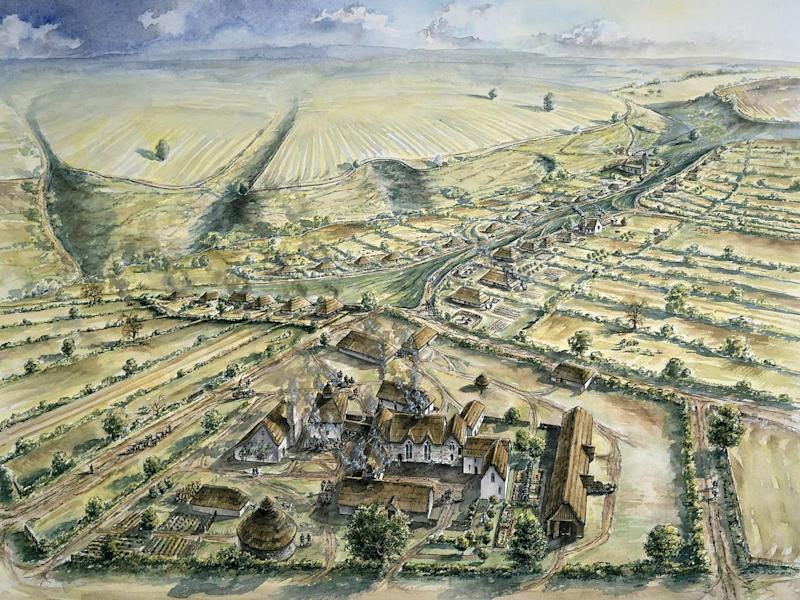 Artist's impression of the 11th- to 13th-century village where the bones were found (Historic England/PA Wire)