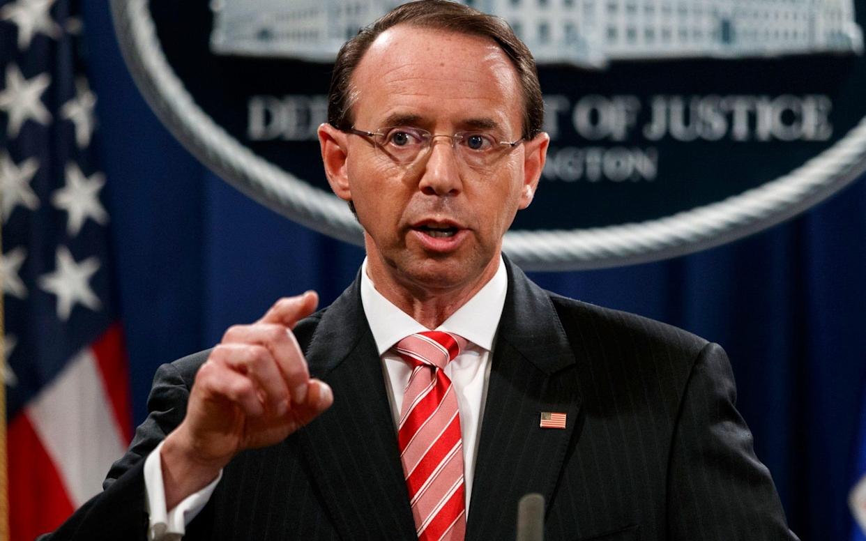 Rod Rosenstein furiously denied that he had discussed invoking the 25th Amendment, which could be used to remove an unfit president - AP