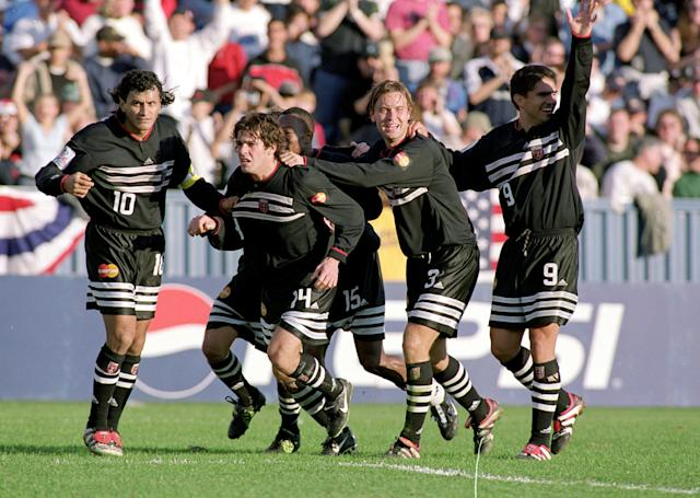 Adorned in its original kit, D.C. United won three of the first four MLS Cups. (Al Bello/Allsport)