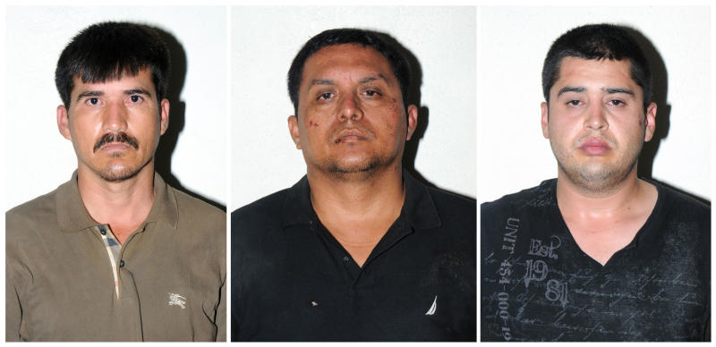 In this combo of three photos released on Tuesday, July 16, 2013 by the Mexican Navy, are Zetas drug cartel leader Miguel Angel Trevino Morales, center, Ernesto Reyes Garcia, left, and Abdon Federico Rodriguez Garcia, right, after their arrests in Mexico. Trevino Morales, 40, was captured before dawn Monday by Mexican marines who intercepted a pickup truck with $2 million in cash in the countryside outside the border city of Nuevo Laredo, which has long served as the Zetas' base of operations. The truck was halted by a marine helicopter, and Trevino Morales was taken into custody along with a bodyguard and an accountant and eight guns, government spokesman Eduardo Sanchez told reporters. (AP Photo/Mexican Navy)