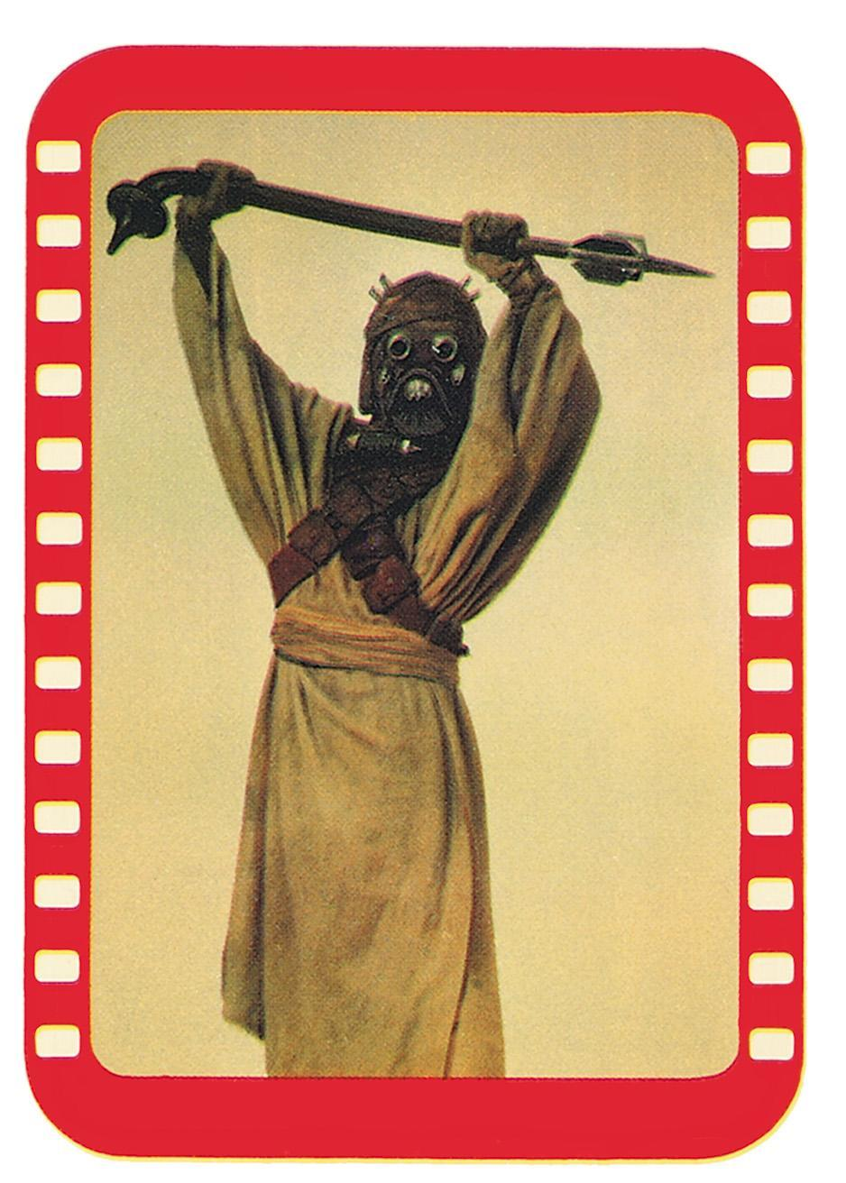 """<p>This fearsome gaffi stick-wielding Tusken Raider (originally named """"Sand People"""" in press materials of the day) re-creates a scene from the movie. (Credit: The Topps Company and Lucasfilm Ltd (C) Abrams Books) </p>"""