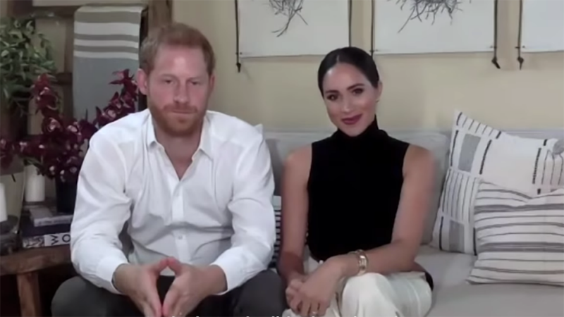 Harry, Meghan and their son Archie now call LA home. Photo: Youtube/Malala Fund