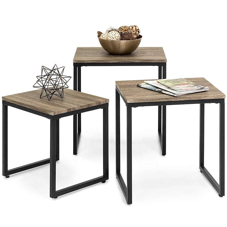 """<h3><a href=""""http://amazon.com/Best-Choice-Products-Stackable-Furniture/dp/B076T8H6N8"""" rel=""""nofollow noopener"""" target=""""_blank"""" data-ylk=""""slk:Best Choice Products 3-Piece Nesting Tables"""" class=""""link rapid-noclick-resp"""">Best Choice Products 3-Piece Nesting Tables</a></h3><br>A trio of nesting tables is a small space's BFF (best furniture friend) — creating extra surface area when in need and stacking up to tuck out of the way when not.<br><br><br><strong>Best Choice Products</strong> Stackable Nesting Coffee Table, $, available at <a href=""""https://www.amazon.com/Best-Choice-Products-Stackable-Furniture/dp/B076T8H6N8/ref=sr_1_5"""" rel=""""nofollow noopener"""" target=""""_blank"""" data-ylk=""""slk:Amazon"""" class=""""link rapid-noclick-resp"""">Amazon</a>"""