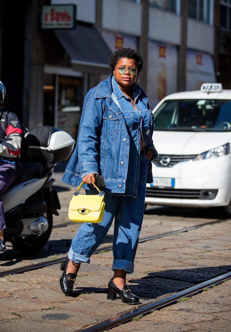 Another three-piece denim outfit that just <em>works</em>: cuffed jeans, a top, and jacket all in the same shade of blue. A pair of Gucci loafers, of course, is a nice touch.