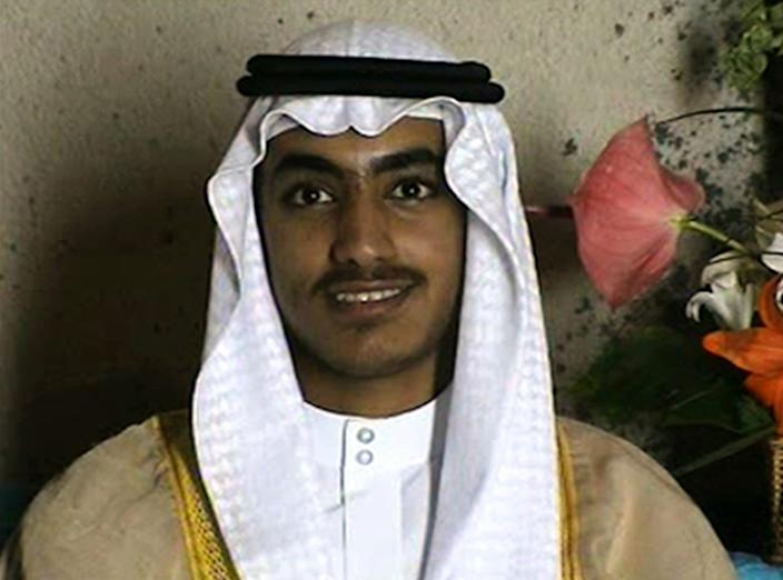 Hamza bin Laden on his wedding day in footage released by the CIA in November.