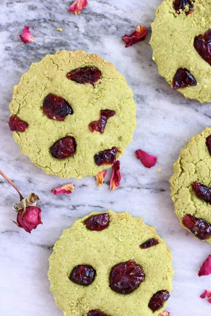 """<p>When you think shortbread, you probably think butter. These suprisingly flavorful matcha cookies are straight heavenly without it. <br></p><p><a class=""""link rapid-noclick-resp"""" href=""""https://www.rhiansrecipes.com/vegan-matcha-green-tea-shortbread/"""" rel=""""nofollow noopener"""" target=""""_blank"""" data-ylk=""""slk:GET THE RECIPE"""">GET THE RECIPE</a></p><p><em>Per serving: 168 calories, 8 g fat (2 g saturated), 22 g carbs, 2 g fiber, 22 g sugar, 4 mg sodium, 3 g protein</em></p>"""