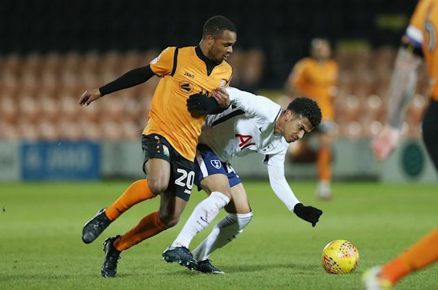 Edwards in action: The Checkatrade Trophy match between Barnet and Tottenham Hotspur U23