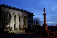 A monument to Confederate soldiers is seen in front of the Alamance County Courthouse in Graham, N.C., Monday, March 9, 2020. (AP Photo/Jacquelyn Martin)