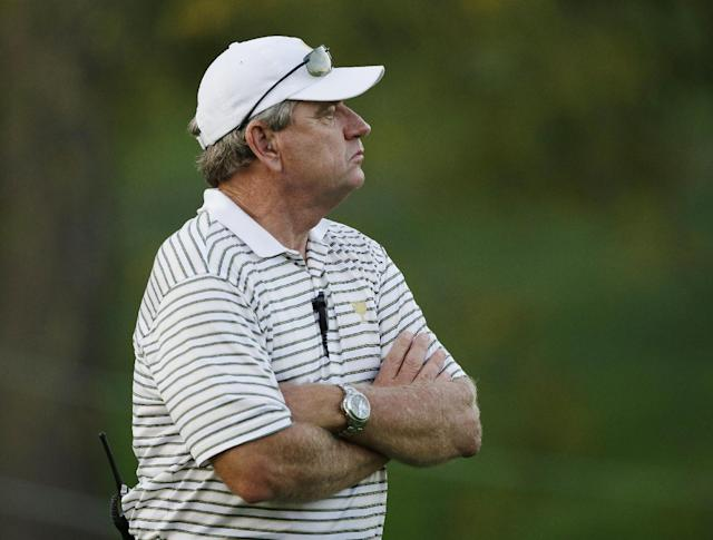 International captain Nick Price watches during a four-ball match at the Presidents Cup golf tournament at Muirfield Village Golf Club on Thursday, Oct. 3, 2013, in Dublin, Ohio. (AP Photo/Darron Cummings)