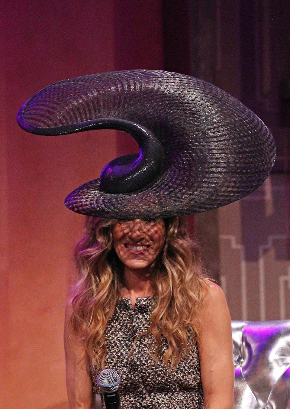 <p>SJP wore this Slinky slug from outerspace by Philip Treacy at the VRC Oaks Club Ladies Luncheon in November 2011 in Melbourne, Australia. </p>