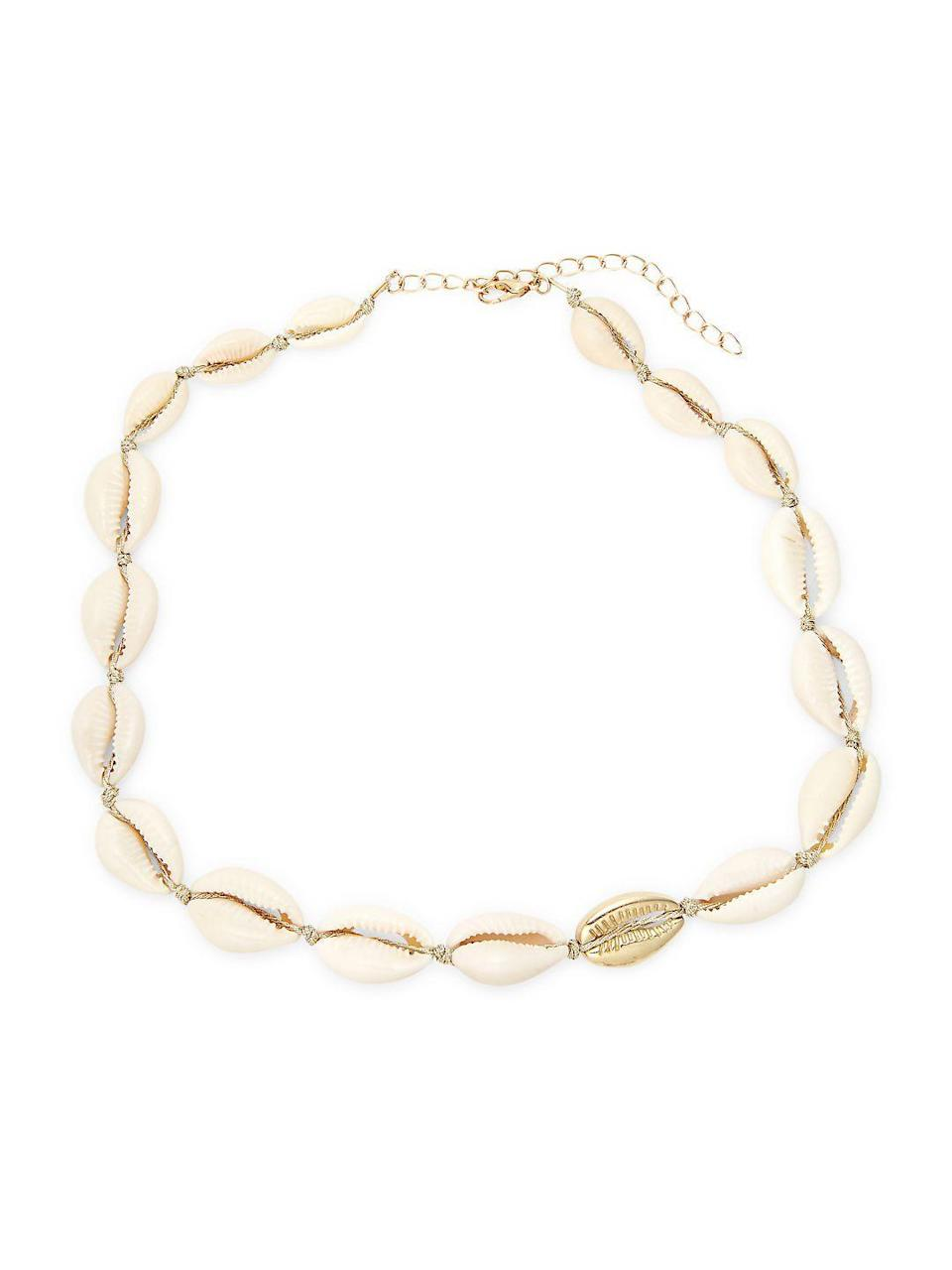 "<h3>Shell-Adorned Choker</h3><p>Add a surfer-chic accent to your summer look with this choker adorned with shells and a goldtone lobster clasp.</p><br><br><strong>Design Lab</strong> Goldtone Choker Necklace, $15.4, available at <a href=""https://www.walmart.com/ip/Goldtone-Choker-Necklace/694334490"" rel=""nofollow noopener"" target=""_blank"" data-ylk=""slk:Walmart"" class=""link rapid-noclick-resp"">Walmart</a>"