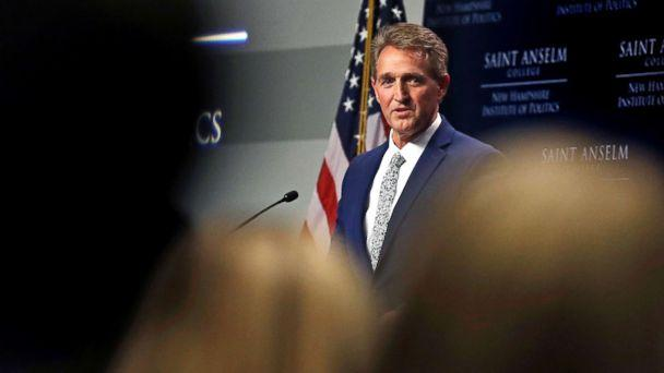 PHOTO: Sen. Jeff Flake addresses a gathering in Manchester, N.H., Oct. 1, 2018. (Charles Krupa/AP)