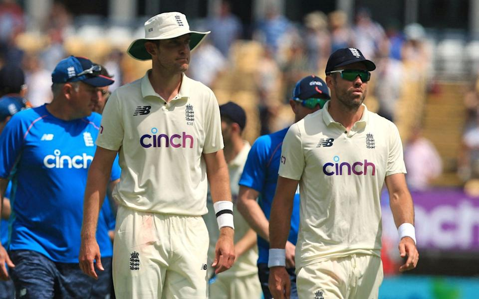 Chris Broad and James Anderson - AFP