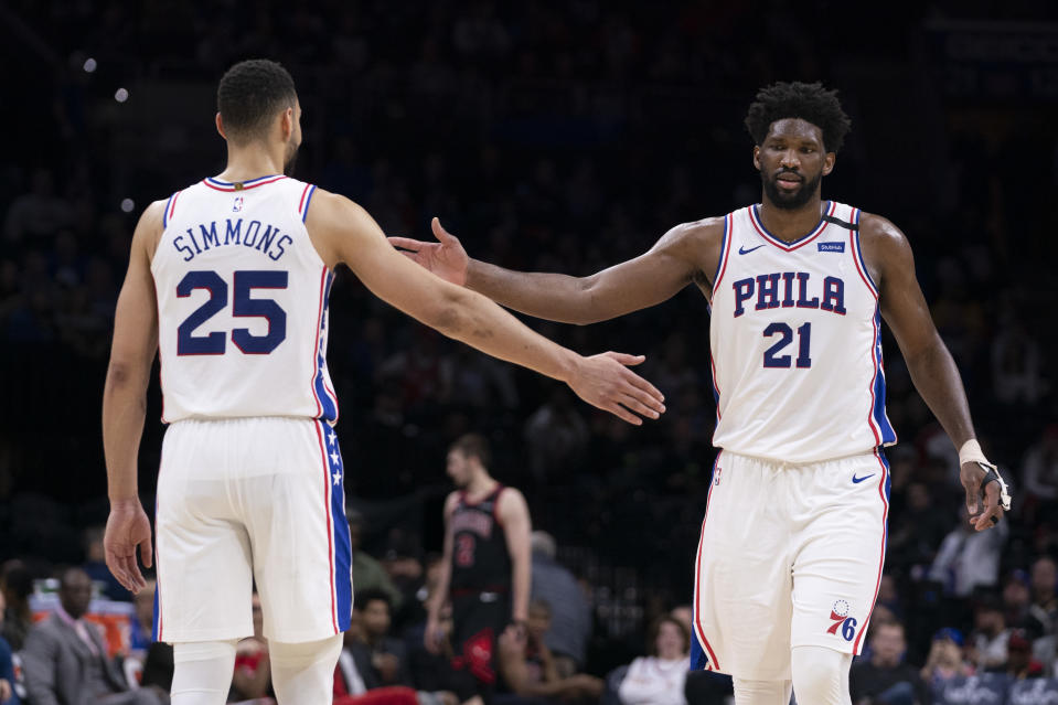 It is too early to give up on the partnership between Ben Simmons and Joel Embiid ... for now. (Mitchell Leff/Getty Images)