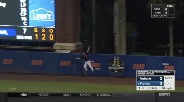 Florida advanced to the College World Series on Monday night, thanks to a walk-off home run that was nearly robbed at the right field wall. (Twitter/Screen grab)