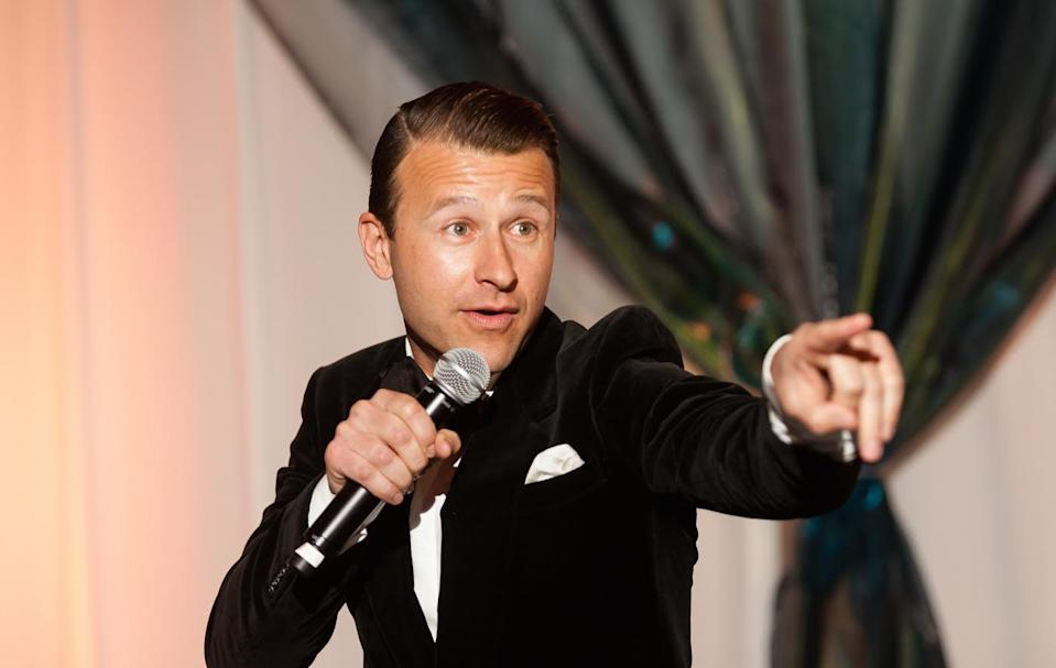 """Benefit auctioneer Lucas Hunt calls galas the """"theater of giving."""" He charges between $1,500 and $5,500 per live auction."""