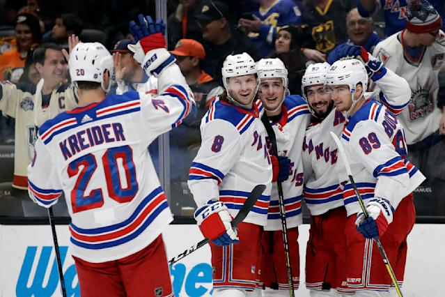 New York Rangers' Mika Zibanejad, second from right, is hugged by teammates after scoring against the Anaheim Ducks during the first period of an NHL hockey game Saturday, Dec. 14, 2019, in Anaheim, Calif. (AP Photo/Marcio Jose Sanchez)
