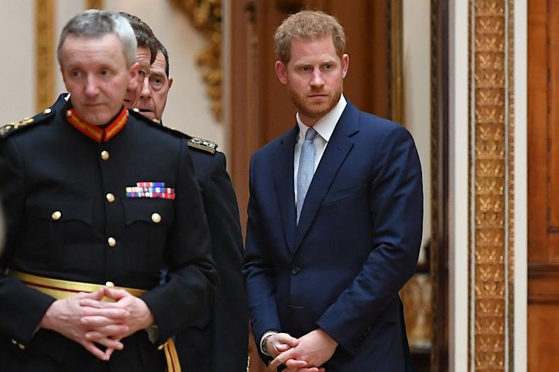 Britain's Prince Harry, Duke of Sussex looks on as US President Donald Trump views US items of the Royal Collection at Buckingham palace at Buckingham Palace in central London on June 3, 2019, on the first day of their three-day State Visit to the UK. - Britain rolled out the red carpet for US President Donald Trump on June 3 as he arrived in Britain for a state visit already overshadowed by his outspoken remarks on Brexit. (Photo by MANDEL NGAN / AFP) (Photo credit should read MANDEL NGAN/AFP/Getty Images)