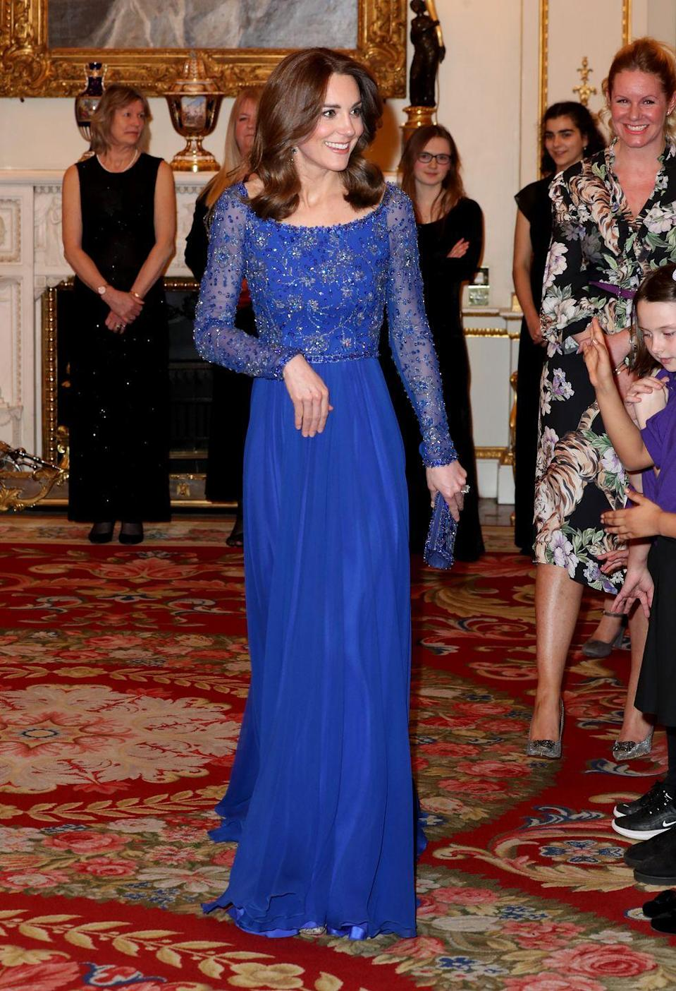 <p>The Duchess wore a sparkling, long-sleeved gown while hosting a gala dinner at Buckingham Palace. The event celebrated the 25th anniversary of Place2Be, an organization which supports childhood mental health. </p>
