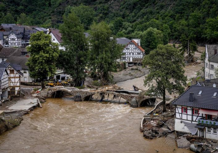 A destroyed bridge over the River Ahr in Schuld, Germany on Thursday.