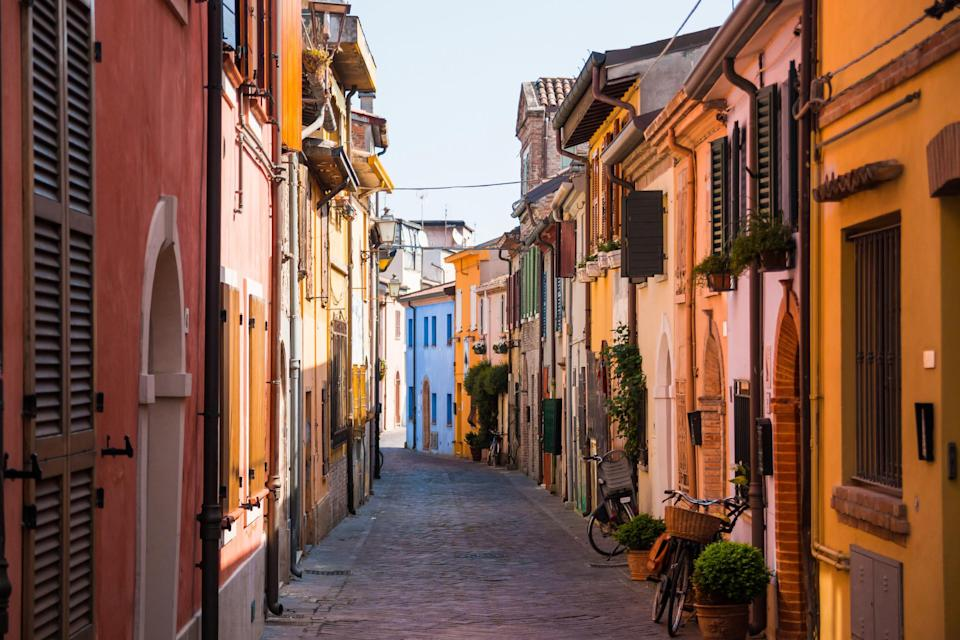 A street view in Rimini, Italy.