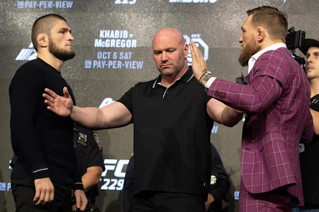 UFC lightweight champion Khabib Nurmagomedov (L) and Conor McGregor face off after the UFC 229 press conference at Radio City Music Hall In New York, NY. (Getty Images)