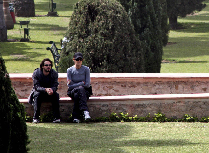 "FILE - In this March 22, 2012 file photo, Oscar winning director Kathryn Bigelow, right, sits with American producer and journalist Mark Boal, on the set of her upcoming film about Osama bin Laden, ""Zero Dark Thirty,"" in Pinjore, about 20 kilometers (13 miles) from Chandigarh, India. (AP Photo/Kapil Sethi, File)"