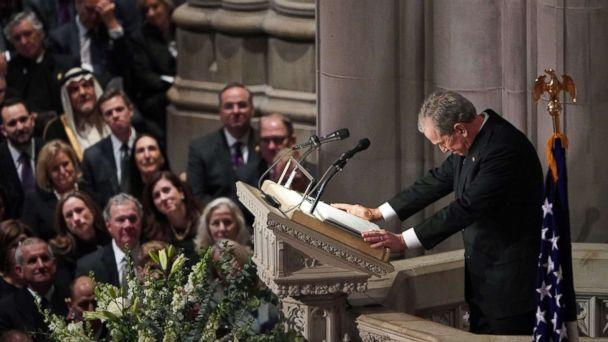 PHOTO: Former President George W. Bush speaks during the funeral service for his father, former President George H. W. Bush at the National Cathedral in Washington, D.C., Dec. 5, 2018. (Mandel Ngan/AFP/Getty Images)