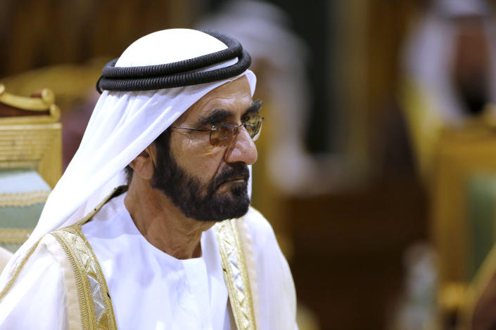 FILE - In this file photo dated Tuesday, Dec. 10, 2019, Prime Minister of the United Arab Emirates Sheikh Sheikh Mohammed bin Rashid Al Maktoum attends the 40th Gulf Cooperation Council Summit in Riyadh, Saudi Arabia. Sheikha Latifa, daughter of Dubai's ruler Sheikh Mohammed bin Rashid Al Maktoum, was detained by commandos as she tried to flee the country in 2018, and new videos have emerged with Latifa saying she is being imprisoned in a heavily guarded villa. (AP Photo/Amr Nabil, FILE)