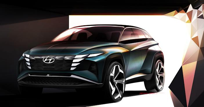 The Hyundai Vision T concept hints at the looks of the new Tucson SUV.