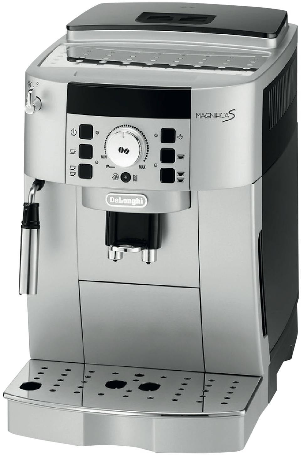 DeLonghi Magnifica S Fully Automatic Coffee Machine ECAM22110SB, $749 from The Good Guys. Photo: The Good Guys.