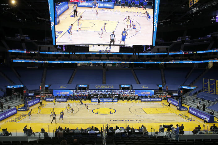 A general view as the Golden State Warriors play the Los Angeles Lakers in the fourth quarter of their NBA game at the Chase Center in San Francisco, Calif., on Monday, March 15, 2021. Fans still aren