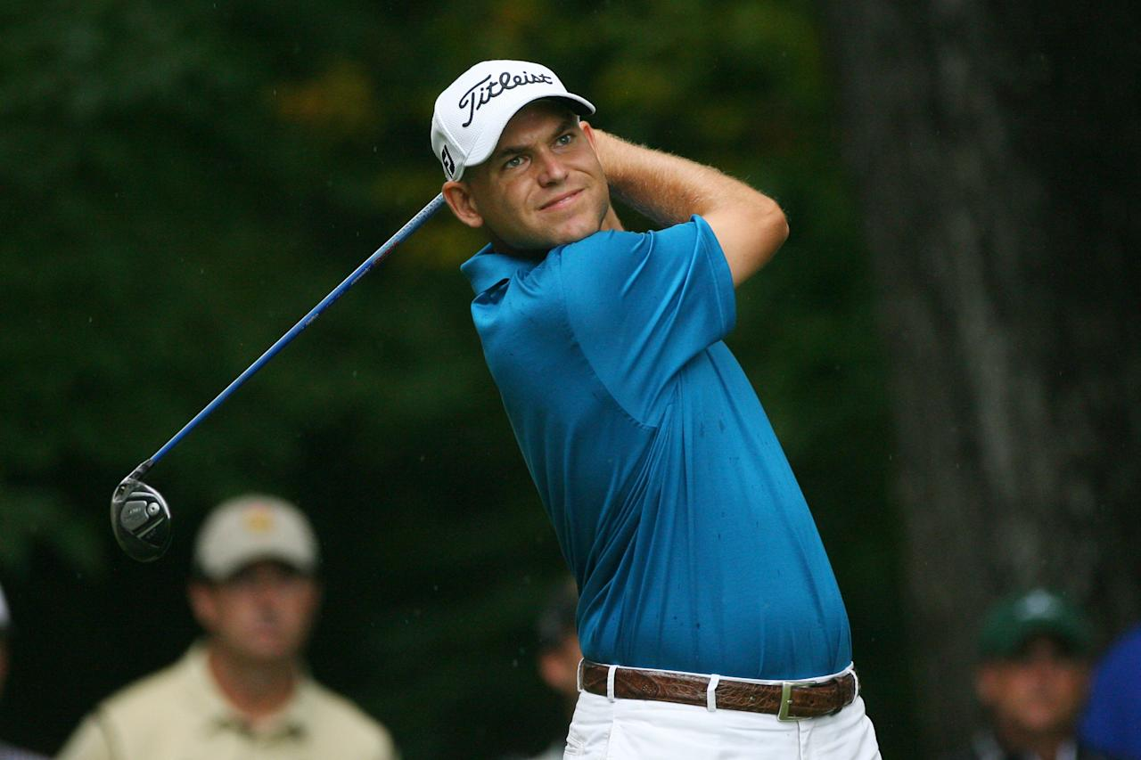 GREENSBORO, NC - AUGUST 19: Bill Haas hits his tee shot on the second hole during the final round of the Wyndham Championship at Sedgefield Country Club on August 19, 2012 in Greensboro, North Carolina. (Photo by Hunter Martin/Getty Images)