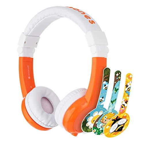 ONANOFF BuddyPhones Explore Foldable, Volume-Limiting Kids Foldable Headphones with Travel Bag, Built-in Audio Sharing Cable with Mic, Compatible with Fire, iPad, iPhone, and Android Devices, Orange (Amazon / Amazon)