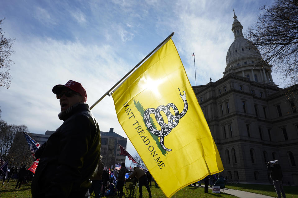 A President Trump supporter carries a Don't Tread On Me flag during a rally at the Capitol building in Lansing, Mich., Saturday, Nov. 14, 2020. (AP Photo/Paul Sancya)