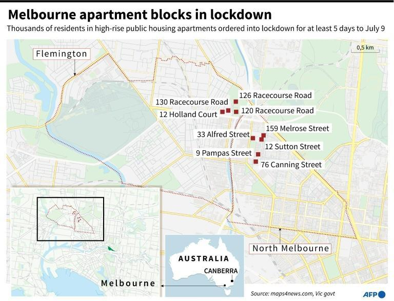 Map of Melbourne, in Australia, locating public housing apartment blocks which have been locked down for at least 5 days to July 9 after a COVID-10 outbreak