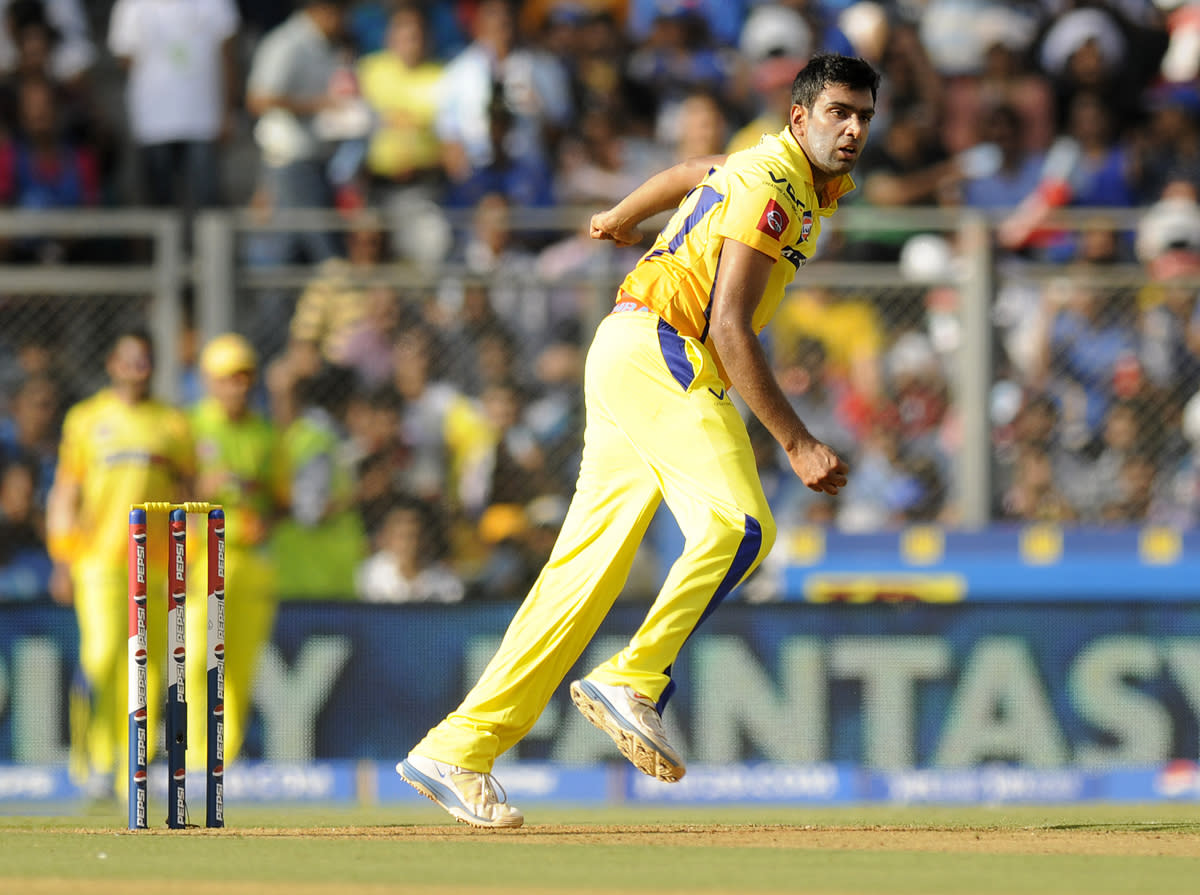 Ravichandran Ashwin of Chennai Super Kings bowls during match 49 of the Pepsi Indian Premier League ( IPL) 2013  between The Mumbai Indians and the Chennai SUperkings held at the Wankhede Stadium in Mumbai on the 5th May 2013 ..Photo by Pal Pillai-IPL-SPORTZPICS  ..Use of this image is subject to the terms and conditions as outlined by the BCCI. These terms can be found by following this link:..https://ec.yimg.com/ec?url=http%3a%2f%2fwww.sportzpics.co.za%2fimage%2fI0000SoRagM2cIEc&t=1490472070&sig=W8982eeyXdYGs2JhZw6taQ--~C