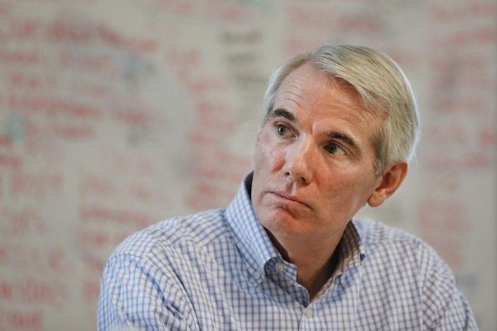 Sen. Rob Portman, R-Ohio, during a roundtable discussion at the Adams Recovery Center for Women in Cincinnati on July 5. (Photo: John Minchillo/AP)