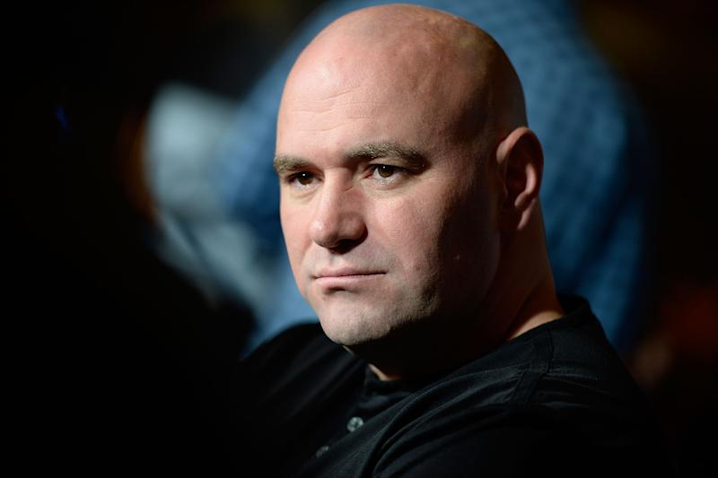 LAS VEGAS, NV - SEPTEMBER 24: UFC President Dana White speaks to the media during the UFC 168: Weidman v SIlva 2 press conference in the lobby of the MGM Grand Hotel/Casino on September 24, 2013 in Las Vegas, Nevada. (Photo by Jeff Bottari/Zuffa LLC/Zuffa LLC via Getty Images)