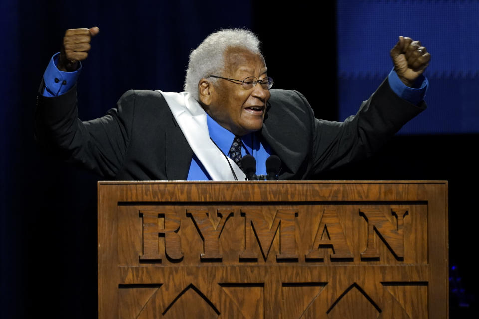 Rev. James Lawson speaks speaks during a celebration of life marking the one-year anniversary of U.S Rep. John Lewis's death Saturday, July 17, 2021, in Nashville, Tenn. (AP Photo/Mark Humphrey)