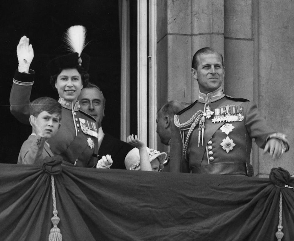 The Royal Family on the balcony of Buckingham Palace in 1956. The balcony is most famously used during Trooping the Colour, where crowds wait to greet the Royals as they gather on it.