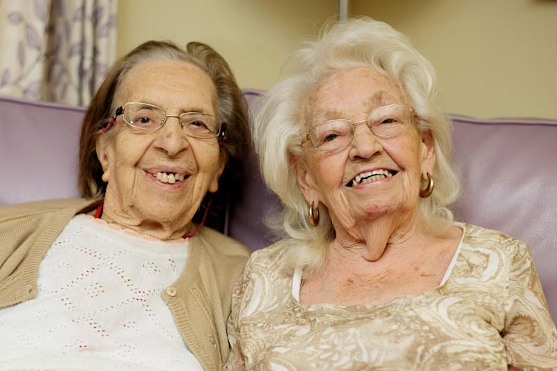 Kathleen Saville and Olive Woodward, both 89, who became friends as 11-year-old schoolgirls in 1941.