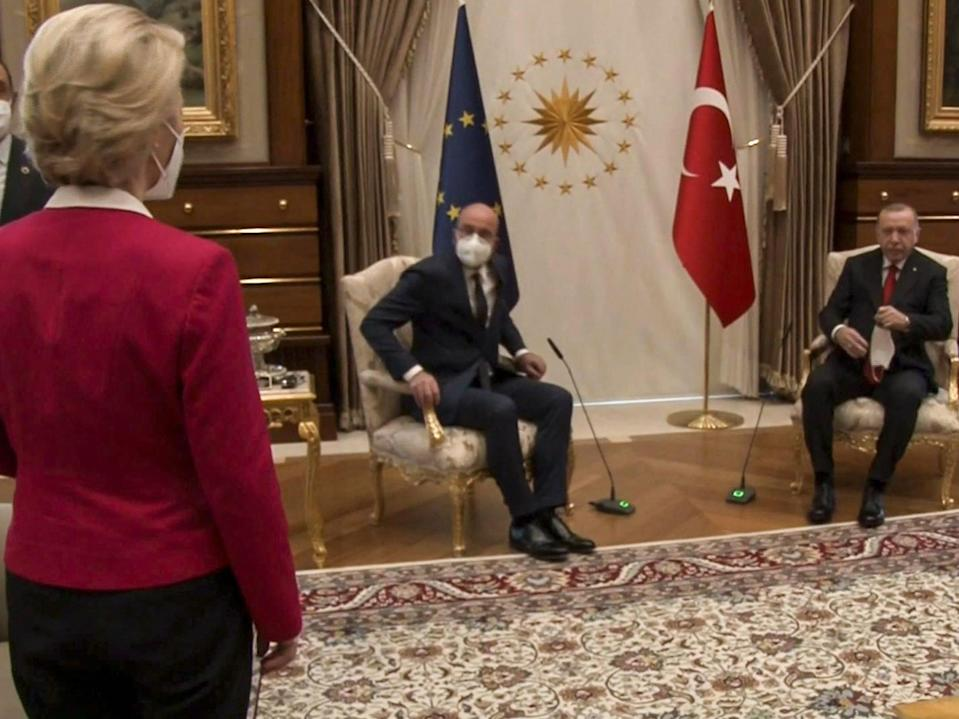 <p>During the talk about Turkey-EU relations, the three were led to a large room for discussions to find there was only two chairs set out for the three leaders</p> (AFP via Getty Images)