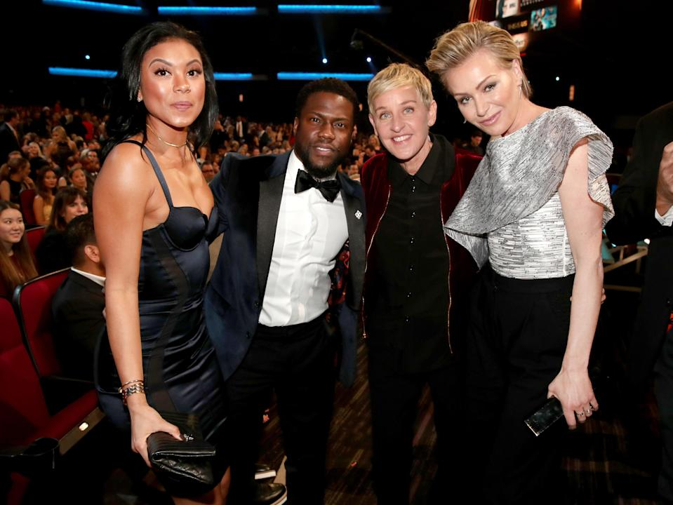 Kevin Hart and his wife, Eniko Parrish, with Ellen DeGeneres and her wife Portia de Rossi at the2017 People's Choice Awards 2017. (Photo: Christopher Polk/Getty Images for People's Choice Awards)