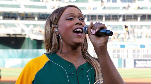 Image result for Breanna Sinclaire national anthem SF