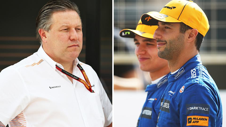 McLaren boss Zak Brown, left, tested positive for coronavirus ahead of the British GP, but the team says their drivers aren't impacted.